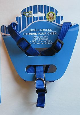 """Paws N Claws BLUE Durable Nylon Adjustable Dog Harness (13""""-19""""), FREE S&H"""