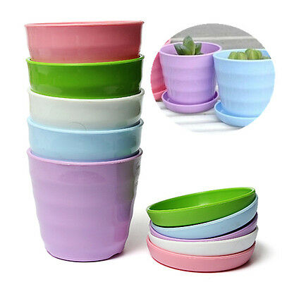 Colorful Plastic Flower Planter Round Pots + Tray Home Office Garden Decor