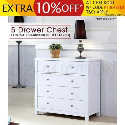 Assembly White Hardwood Timber Tallboy Chest Of 5 Drawer