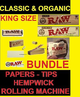 RAW KING SIZE ROLLING Classic+Organic BUNDLE+MACHINE+PAPERS+TIPS+13foot HEMPWICK