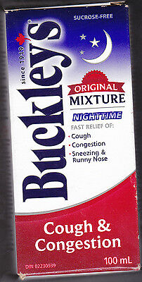 Buckley's Original Mixture Nighttime Cough Syrup 100 Ml Canada's Own!!