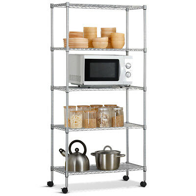 Commercial 5 Layer Shelf Adjustable Steel Wire Metal Shelving Rack w/ Wheels