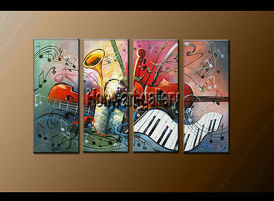 Large Modern musical Abstract oil painting Wall Art Canvas Framed Handmade F8157