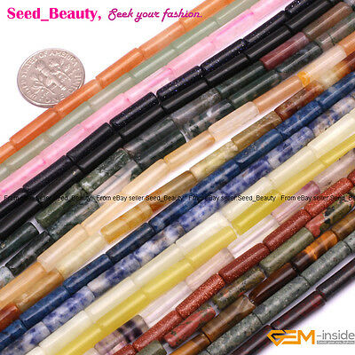 "4x12mm Tube Natural Stone Beads For Jewelry Making 15"" Gemstone Beads in Bulk"