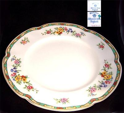 Johnson Enfield Green Floral Band Gold Rim Salad Plate Multiples Available