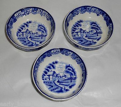 3 ANTIQUE WOODS & SON WOODS WARE BLUE SALTS ENOCH WOODS ENGLISH SCENERY