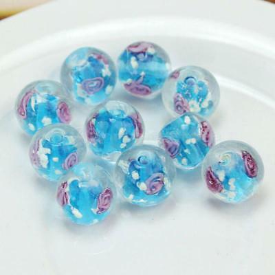 10x 12mm Sky Blue Faceted Lampwork Flower Glass Loose Beads For Necklace Making