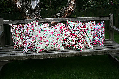 Shabby chic vintage retro floral roses cushion cover 100% cotton hand made in UK