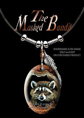 "MASKED BANDIT RACCOON NECKLACE for MALE or FEMALE 24"" LEATHER ART FREE SHIP#LBR*"