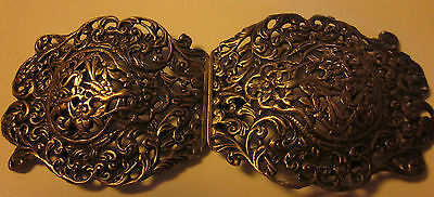 Beautiful Large Antique Victorian Birds and Flowers Sterling Silver  Belt Buckle