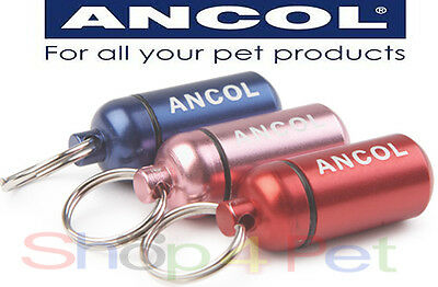Ancol Aluminium ID Tube, No-Nonsense Light Weight in 3 Colours, Pink, Red & Blue