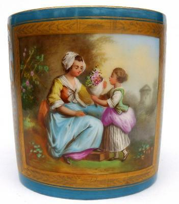 FINELY PAINTED ANTIQUE FRENCH SEVRES CABINET CUP CAN 19THC