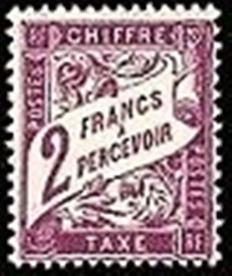 """FRANCE STAMP TIMBRE TAXE N° 42 """" TYPE DUVAL 2F VIOLET """" NEUF xx TTB"""
