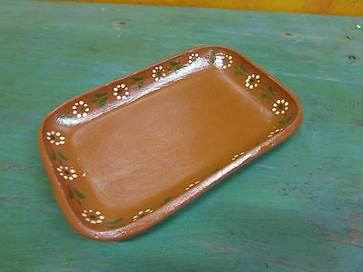 Clay Serving Dish-Mexican Folk Art-Handmade-9x6 in-Handpainted-Party-Fiesta