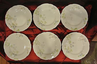 "Set of 6 Dessert / Bread Plates 6"" of Imperial Karlsbad China~ Blue Flowers"