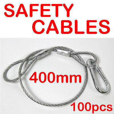 100 x 400mm Steel Wire Safety Security Cable Stage Lighting Light Clamp LED Can