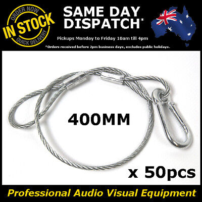 50 x 400mm Steel Wire Safety Security Cable Stage Lighting Light Clamp LED Can