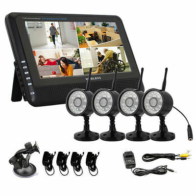 """Wireless Wifi 4 Channel DVR NVR with 7"""" TFT Monitor 4 Night Vision Cameras"""