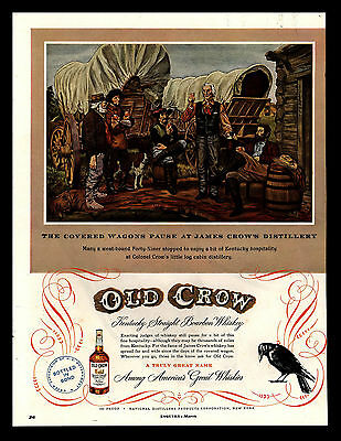 """Original 1950 """"old Crow Whiskey"""" Covered Wagons At The Distillery Art Print Ad"""