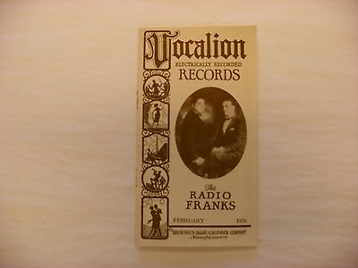 Original Vocalion Electrically Recorded Phonograph Record Catalog - Feb, 1926