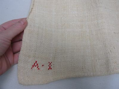 "Antique Home Spun Linen Bath Towels With Embroidered Initials On Edge 27"" X 54"""