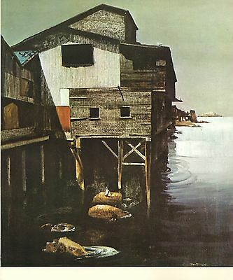 """1970 Vintage CALIFORNIA Full Color Art Plate """"CANNERY ROW"""" McIntyre Lithograph"""