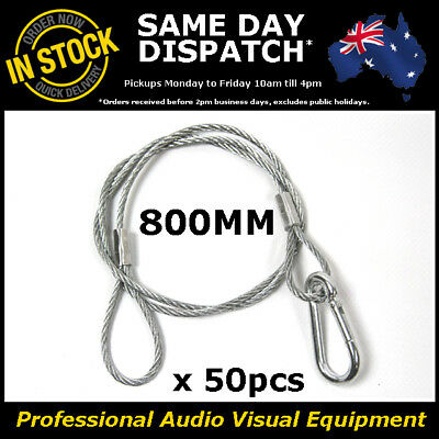 50 x 800mm Steel Wire Safety Security Cable Stage Lighting Light Clamp LED Can