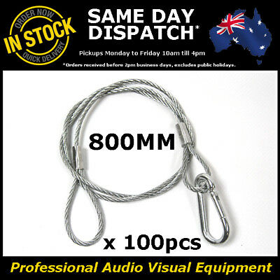 100 x 800mm Steel Wire Safety Security Cable Stage Lighting Light Clamp LED Can