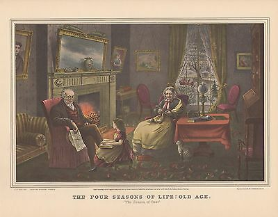 """1952 Vintage Currier & Ives """"THE FOUR SEASONS OF LIFE: OLD AGE"""" COLOR Lithograph"""