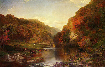 Oil Thomas Moran - Autumn on the Wissahickon with cows drinking water landscape