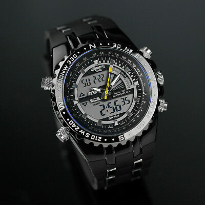 INFANTRY Mens Digital Quartz Wrist Watch Chronograph Sport Army Black Silicone