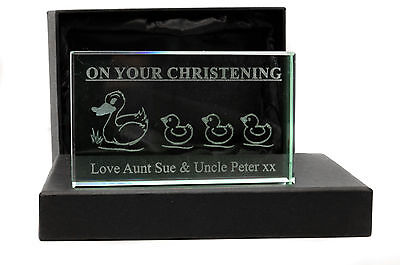 Personalised Jade Glass Block, Laser Engraved Ducks, Christening or Newborn Gift