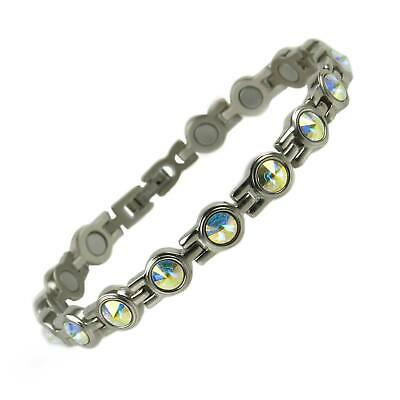 New Ladies TITANIUM Magnetic Bracelet Magnets with Pearlescent CRYSTALS GIFT BOX
