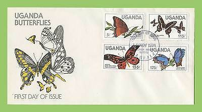 Uganda 1984 set of four Butterflies on First Day Cover