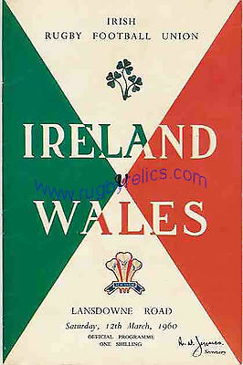 IRELAND v WALES 1960 RUGBY PROGRAMME