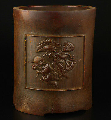Vintage Collection Handmade Old Jingmei Precious Bamboo Carving Brush Pot