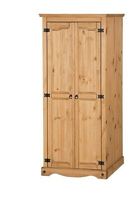 Mercers Furniture® Corona Mexican Pine 2 Door Flat Top Wardrobe