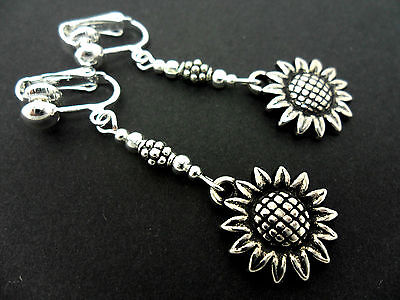 A Pair Of  Tibetan Silver Dangly  Sunflower Clip On Earrings. New.