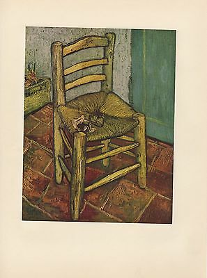 """1952 full Color Art Plate """" Van Gogh's Chair """" by Van Gogh Lithograph Litho"""
