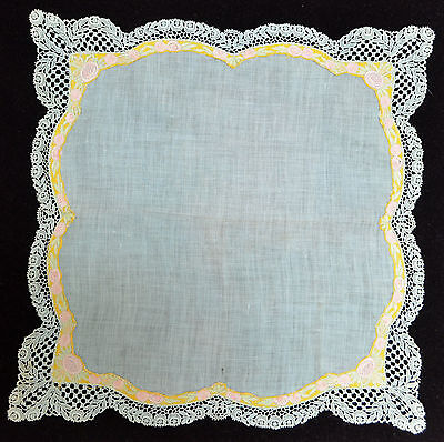 Unusual Aqua Linen Vintage Handkerchief Embroidered Ribbon And Guipure Lace Oo11