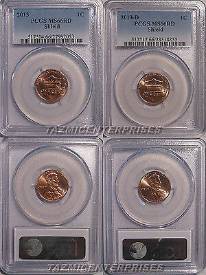 2013 P & D Lincoln SHIELD Cent 2 Coin Set 1c PCGS MS66RD