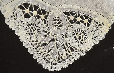 Heavenly Vintage Brussels Lace And Linen Wedding Hanky Oo38