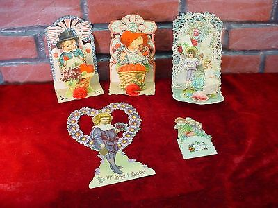 5 Antique VICTORIAN DIE CUT VALENTINES DAY CARDS Pop-Out GERMANY Fold HONEYCOMB