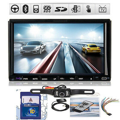 "GPS Radio TV BT Car Stereo DVD CD Player Double 2Din 7"" HD+Rear Camera"