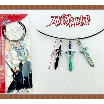 SAO Sword Art Online 3 sword necklace Free Shipping ASUNA & Kirito Cosplay