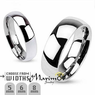 316L Stainless Steel High Polished Traditional Wedding Band Ring Size 5-14