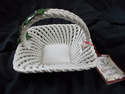 Capodimonte Ceramic Basket with Ivy made in Italy