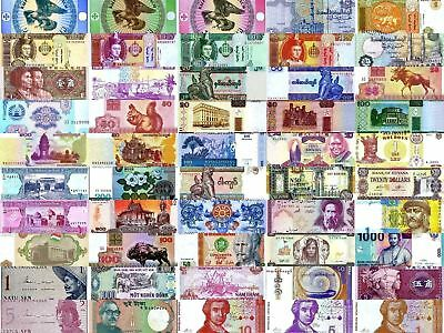 50 Different World Banknotes Uncirculated Intl International Currency Money