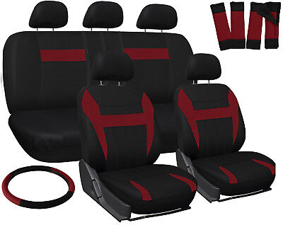 SUV Seat Covers for Toyota Rav4 Red Black w/ Steering Wheel/Belt Pads/Head Rests