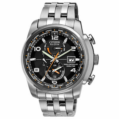 Citizen Men's World Time A-T Eco-Drive Radio Controlled Steel Watch AT9010-52E
